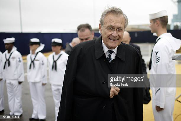 Secretary of Defense Donald Rumsfeld arrives at the christening ceremony of the USS George HW Bush at NorthropGrumman's shipyard in Norfolk News...
