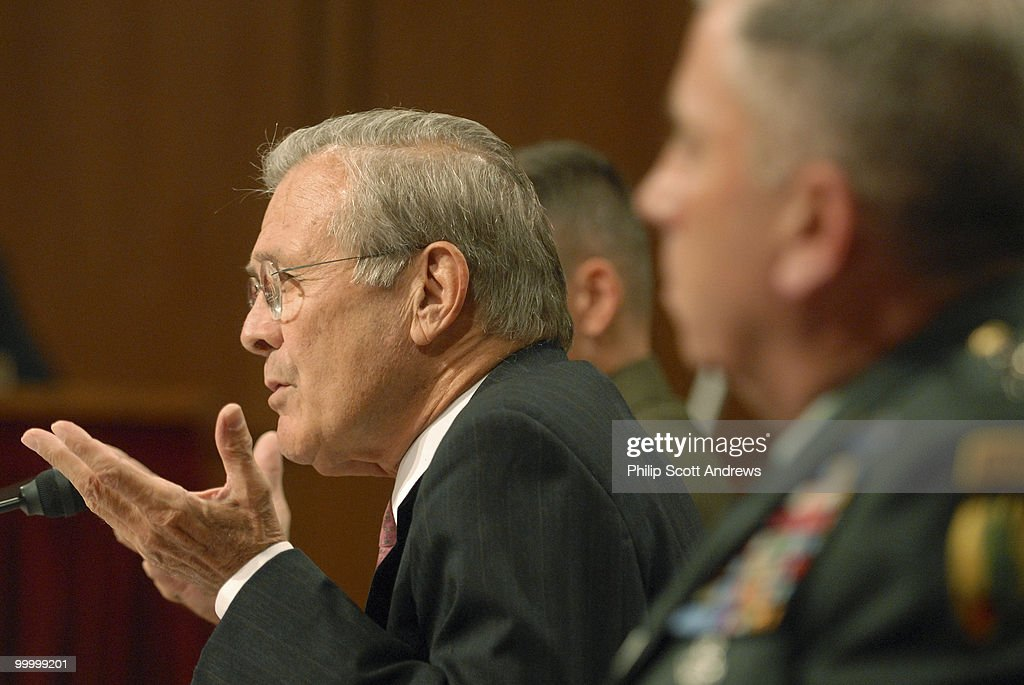 Secretary of Defense, Donald Rumsfeld, Chairman of the Joint Chiefs of Staff Gen. Peter Pace, and Army General John Abizaid testify before the Senate Armed Services Committee on the war in Iraq and Afghanistan.