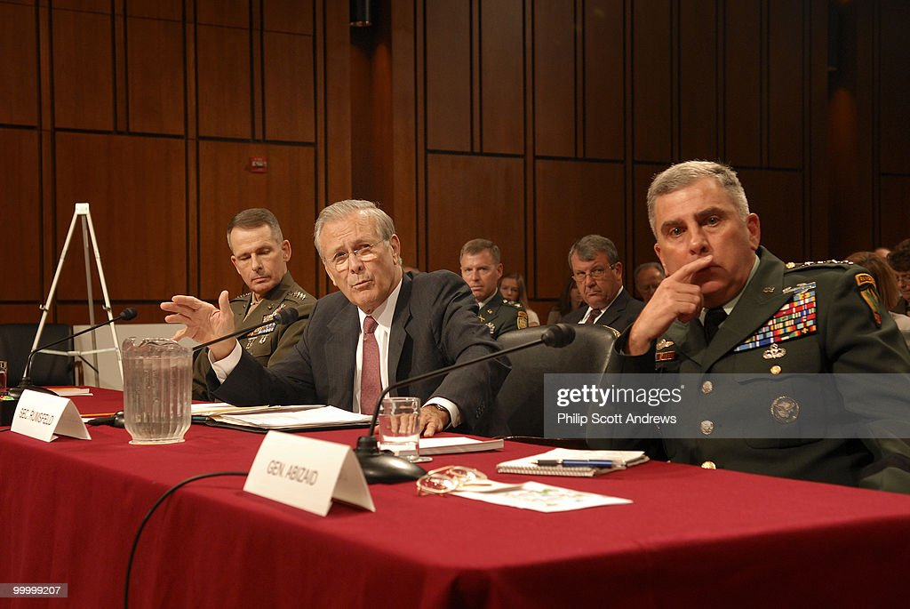 Secretary of Defense, Donald Rumsfeld, Chairman of the Joint Chiefs of Staff Gen. Peter Pace, Secretary of Defense, Donald Rumsfeld, and Army General John Abizaid testify before the Senate Armed Services Committee on the war in Iraq and Afghanistan.
