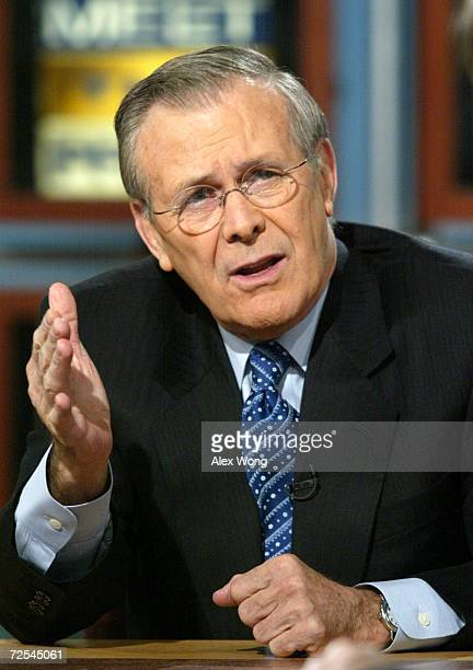 S Secretary of Defense Donald Rumsfeld discusses various topics including the war in Afghanistan the hunting of Osama bin Laden and the slaying of...