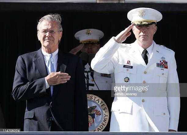 Secretary of Defense Donald Rumsfeld during 2004 U.S. Military Academy Graduation Ceremony at Michie Stadium in West Point, New York, United States.