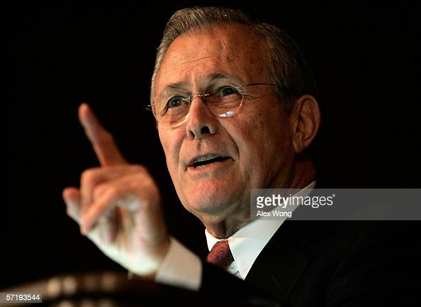 Secretary of Defense, Donald Rumsfeld, gestures as he speaks during his visit to the U.S. Army War College March 27, 2006 in Carlisle, Pennsylvania....