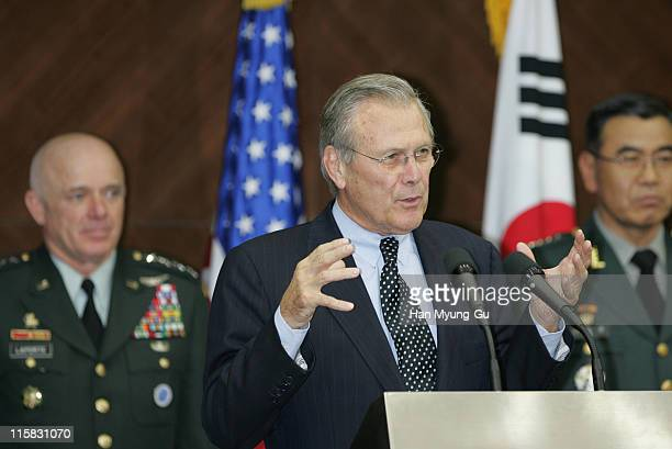 US Secretary of Defense Donald Rumsfeld speaks during a press conference after the 37th Security Consultative Meeting at the Ministry of Defense on...