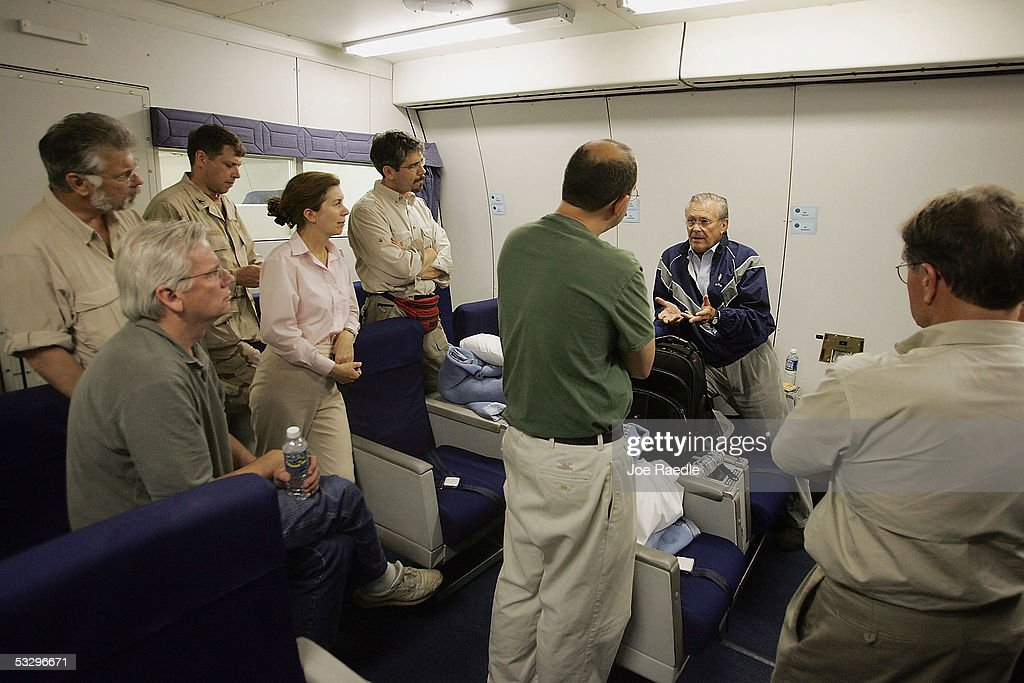U.S. Secretary of Defense Donald Rumsfeld speaks to reporters July 27, 2005 as he flies back to America from a swing through Central Asia and Iraq. Rumsfeld was visited the area to meet with U.S. troops and the senior U.S. and Iraqi military personnel and local governmental officials.