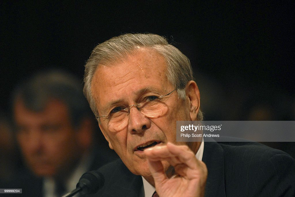 Secretary of Defense, Donald Rumsfeld testifies before the Senate Armed Services Committee on the war in Iraq and Afghanistan.