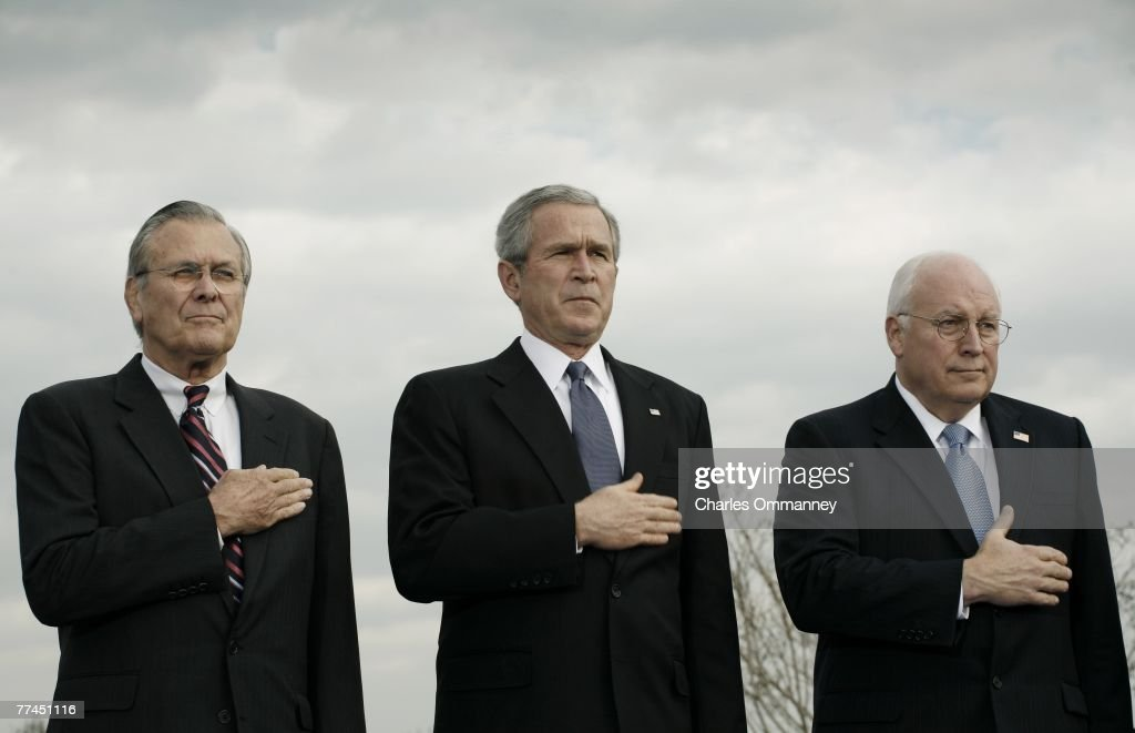 US Secretary of Defense Donald Rumsfeld, US President George W. Bush, Vice President Richard Cheney at the Armed Forces Full Honor Review in Honor of the Secretary of Defense at the Pentagon December 15, 2006 in Arlington, Virginia.