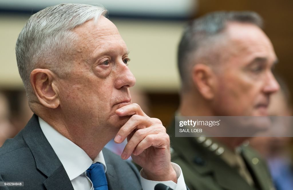 US Secretary of Defense James Mattis (L) and Chairman of the Joint Chiefs of Staff General Joseph Dunford (R) testify about the Fiscal Year 2019 National Defense Authorization budget request during a House Armed Services Committee hearing on Capitol Hill in Washington, DC, April 12, 2018. /