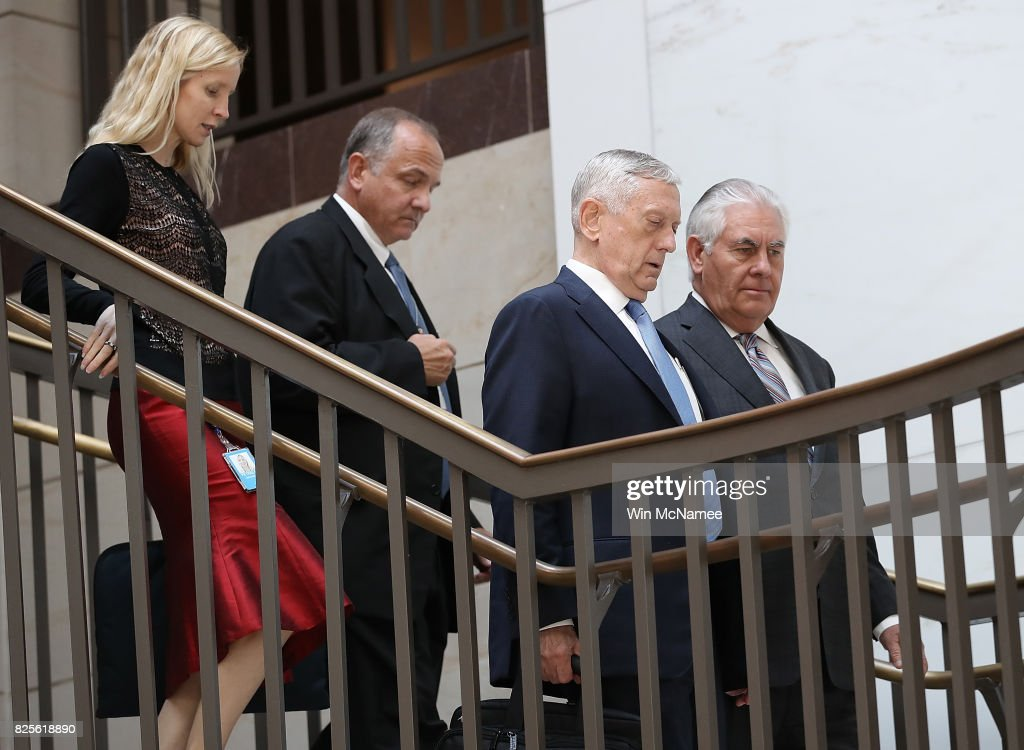 U.S. Secretary of Defense James Mattis (2nd R) and Secretary of State Rex Tillerson (R) arrive for a closed briefing at the U.S. Capitol with the Senate Foreign Relations Committee August 2, 2017 in Washington, DC. The committee was briefed on 'The Authorizations for the Use of Military Force: Administration Perspective.'
