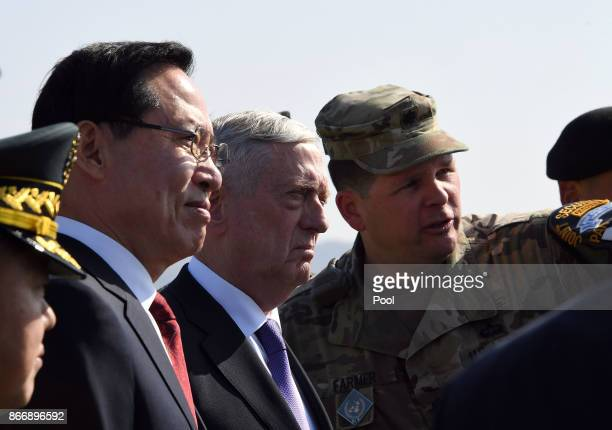S Secretary of Defense James Mattis and South Korean Defense Minister Song Youngmoo visit Observation Post Ouellette near the truce village of...