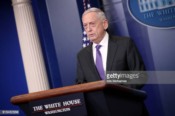 S Secretary of Defense James Mattis answers questions during the daily White House briefing February 7 2018 in Washington DC Mattis and White House...