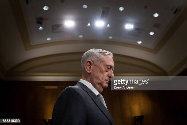 S Secretary of Defense James Mattis arrives for a Senate Foreign Relations Committee hearing concerning the authorizations for use of military force...