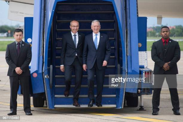 Secretary of Defense James Mattis arrives for a Welcoming Ceremony with Croatian Minister of Defense Damir Krsticevic upon landing on July 12 2018 in...