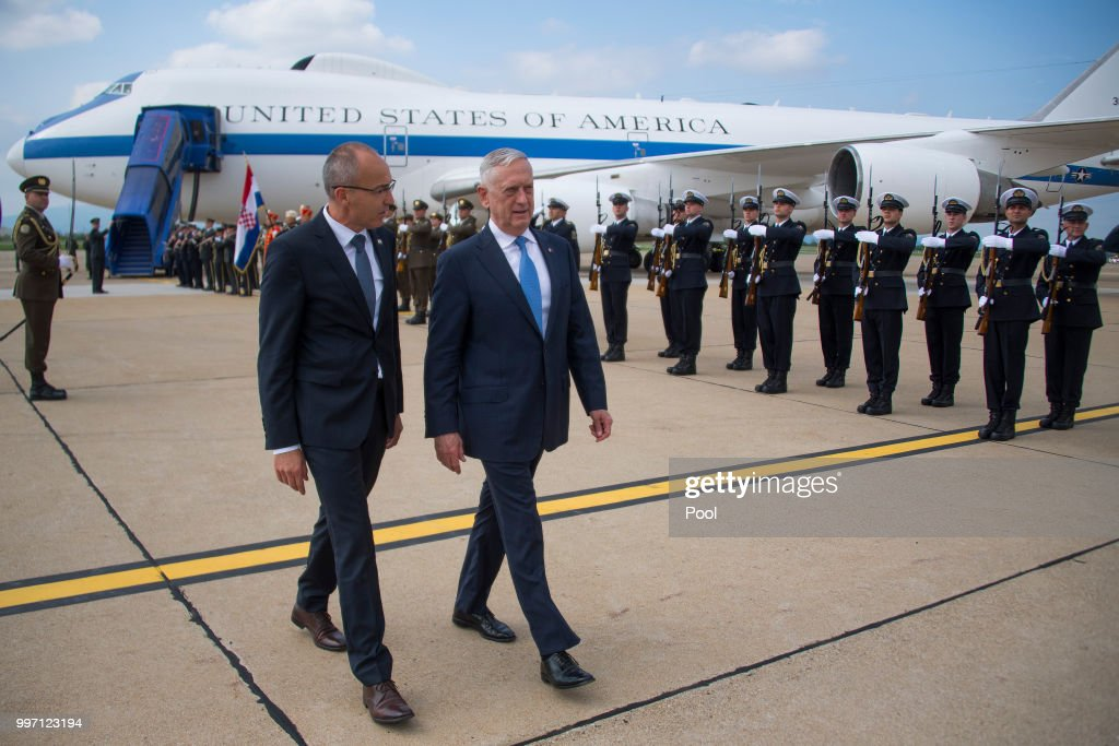US Secretary of Defense James Mattis (R) arrives for a Welcoming Ceremony with Croatian Minister of Defense Damir Krsticevic upon landing on July 12, 2018 in Zagreb, Croatia.