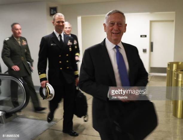 S Secretary of Defense James Mattis arrives for an allsenators closed briefing on ISIL in the US Capitol on July 19 2017 in Washington DC The...