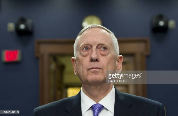Secretary of Defense James Mattis arrives to testify on the Defense Department budget at a House Appropriations Committee Defense Subcommittee...