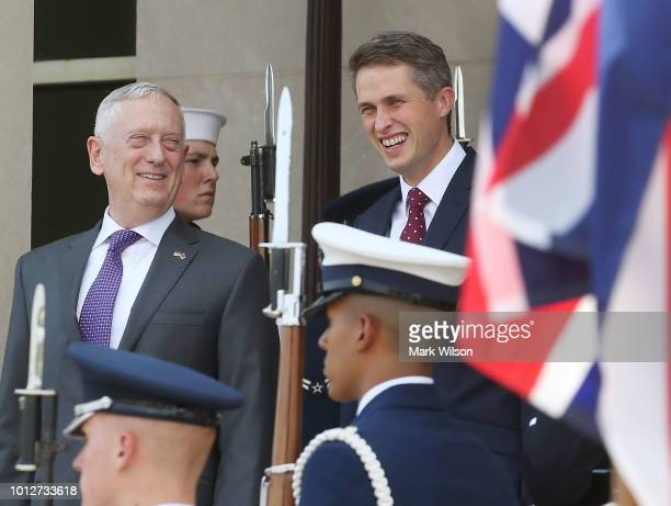 S Secretary of Defense James Mattis hosts an Honor Cordon for Gavin Williamson Secretary of State for Defence of the United Kingdom at the Pentagon...