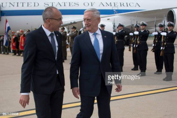 Secretary of Defense James Mattis is greeted by Croatian Minister of Defense Damir Krsticevic during a Welcoming Ceremony upon landing on July 12...
