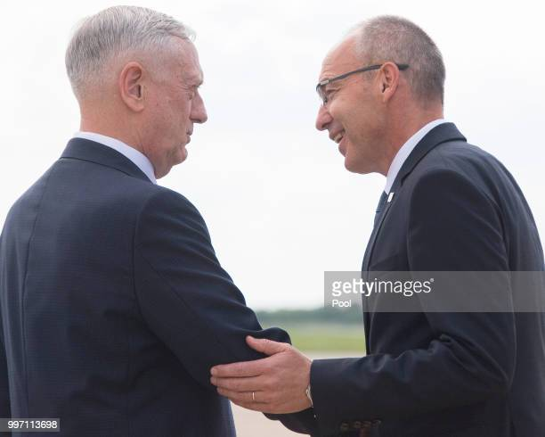 Secretary of Defense James Mattis is welcomed by Croatian Minister of Defense Damir Krsticevic upon landing on July 12 2018 in Zagreb Croatia