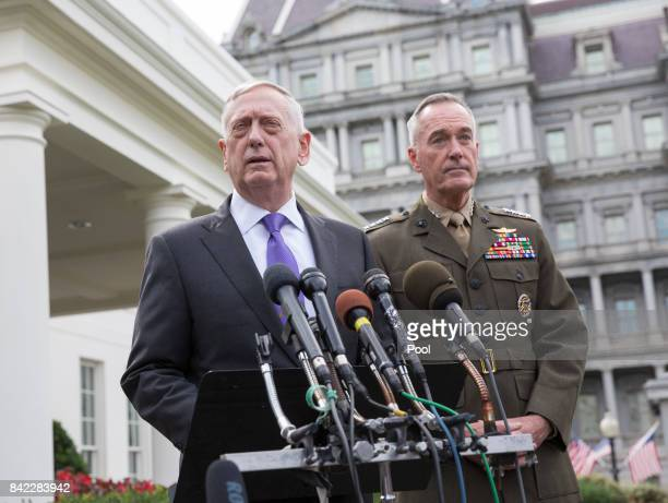 US Secretary of Defense James Mattis makes a statement at the White House on a possible military response to the recent North Korea missile launch...