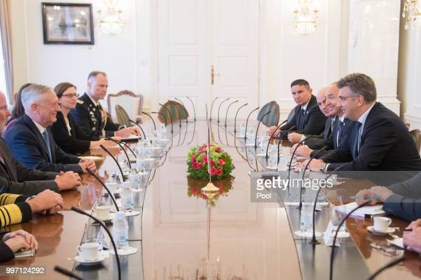 Secretary of Defense James Mattis meets with Croatian Prime Minister Andrej Plenkovic on July 12 2018 in Zagreb Croatia