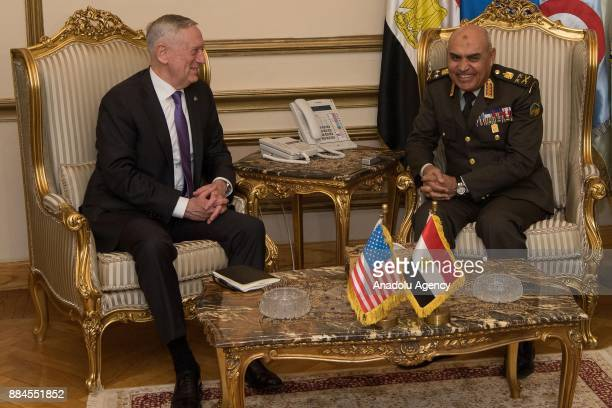 US Secretary of Defense James Mattis meets with Egyptian Defense Minister Gen Sedki Sobhi after an official welcoming ceremony at the Egyptian...