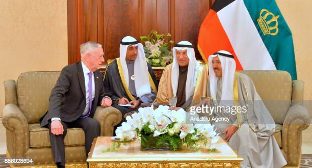 US Secretary of Defense James Mattis meets with Kuwait's Emir Sheikh Sabah alAhmad AlSabah in Kuwait City on December 05 2017