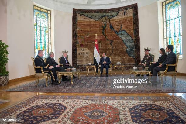 US Secretary of Defense James Mattis meets with President of Egypt Abdel Fattah alSisi at the Presidential Ittihadiya Palace in Cairo Egypt on...