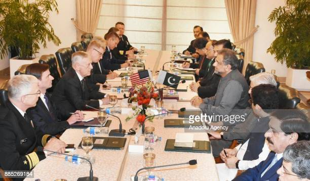 US Secretary of Defense James Mattis meets with Prime Minister of Pakistan Shahid Khaqan Abbasi during his official visit at Prime Ministry building...