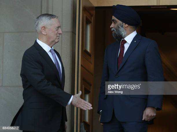 S Secretary of Defense James Mattis participates in a honor cordon to welcome Canadian National Defense Minister Harjit Sajjan to the Pentagon...