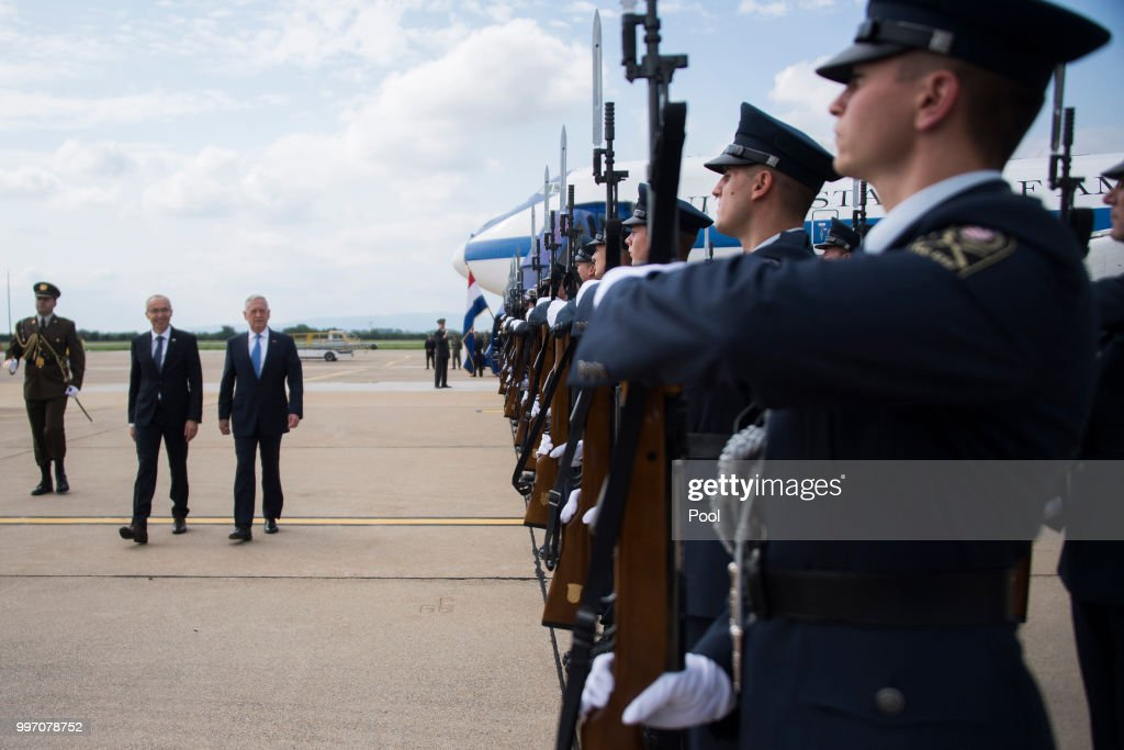 US Secretary of Defense James Mattis (C) participates in a Welcoming Ceremony with Croatian Minister of Defense Damir Krsticevic upon landing on July 12, 2018 in Zagreb, Croatia.