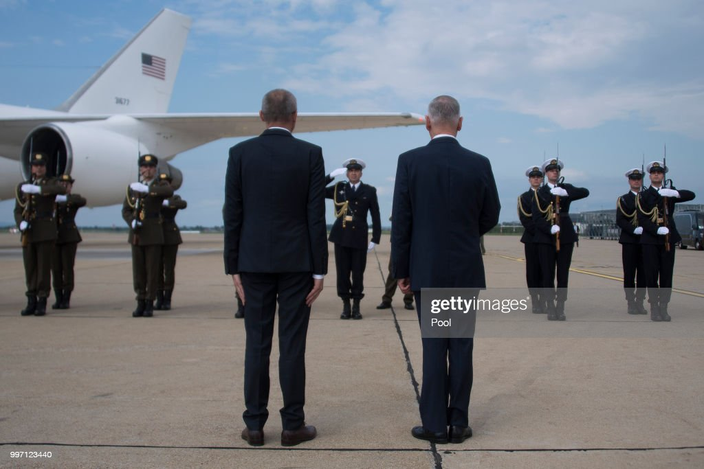 US Secretary of Defense James Mattis (R) participates in a Welcoming Ceremony with Croatian Minister of Defense Damir Krsticevic upon landing on July 12, 2018 in Zagreb, Croatia.