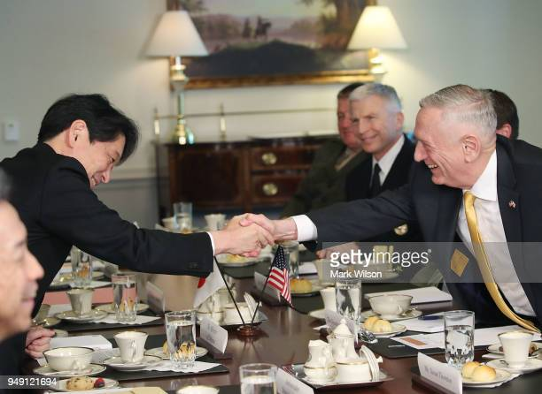 Secretary of Defense James Mattis shakes hands with Japanese Defense Minister Itsunori Onodera during a luncheon at the Pentagon on April 20 2018 in...
