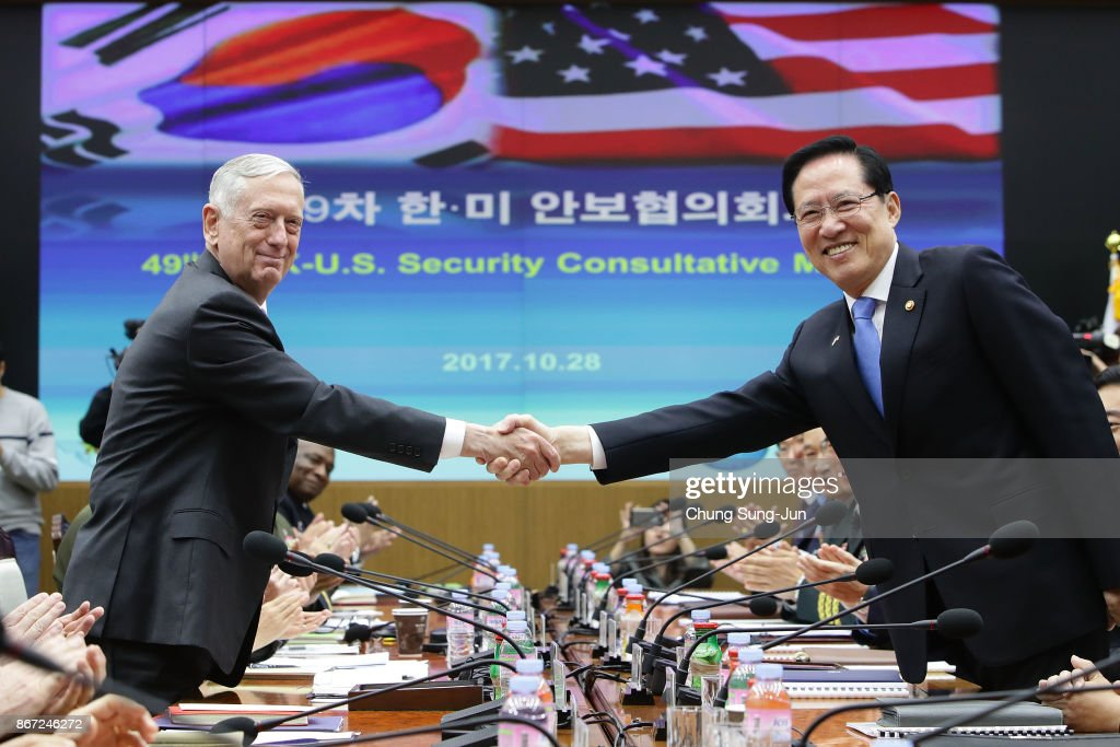 U.S. Secretary of Defense James Mattis (L) shakes hands with South Korean Defense Minister Song Young-moo (R) during the 49th Security Consultative Meeting (SCM) at Defense Ministry on October 28, 2017 in Seoul, South Korea. Mattis is in South Korea ahead of the visit by U.S. President Donald Trump.