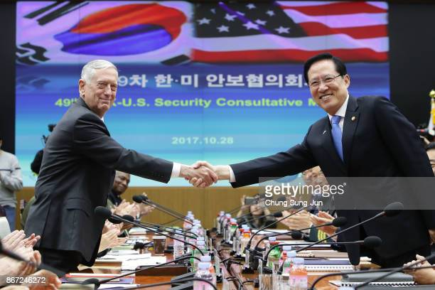 S Secretary of Defense James Mattis shakes hands with South Korean Defense Minister Song Youngmoo during the 49th Security Consultative Meeting at...
