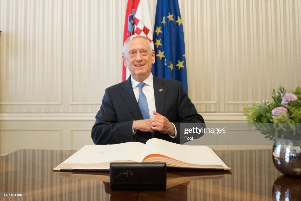 US Secretary of Defense James Mattis signs a guest book before a meeting with Croatian Prime Minister Andrej Plenkovic on July 12, 2018 in Zagreb, Croatia.