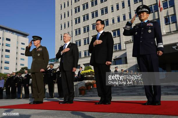 S Secretary of Defense James Mattis South Korean Defense Minister Song Youngmoo Chairman of the US Joint Chiefs of Staff Gen Joseph Dunford and...