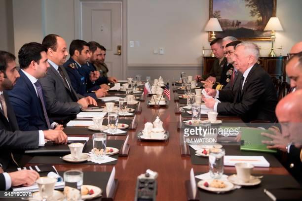Secretary of Defense James Mattis speaks as he welcomes Minister of Defense of Qatar Dr Khalid Bin Mohammed AlAttiyah tot he Pentagon in Washington...
