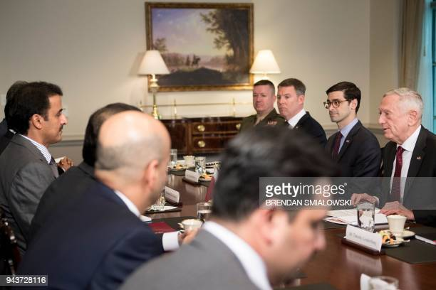 US Secretary of Defense James Mattis speaks before a meeting with Qatar's Emir Sheikh Tamim Bin Hamad AlThani at the Pentagon April 9 2018 in...