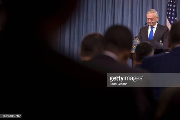 Secretary of Defense James Mattis speaks during a press briefing at the Pentagon August 28, 2018 in Arlington, Virginia. Mattis held the briefing...