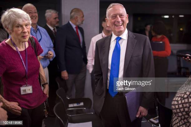 Secretary of Defense James Mattis speaks to members of the press before a press briefing at the Pentagon August 28, 2018 in Arlington, Virginia....