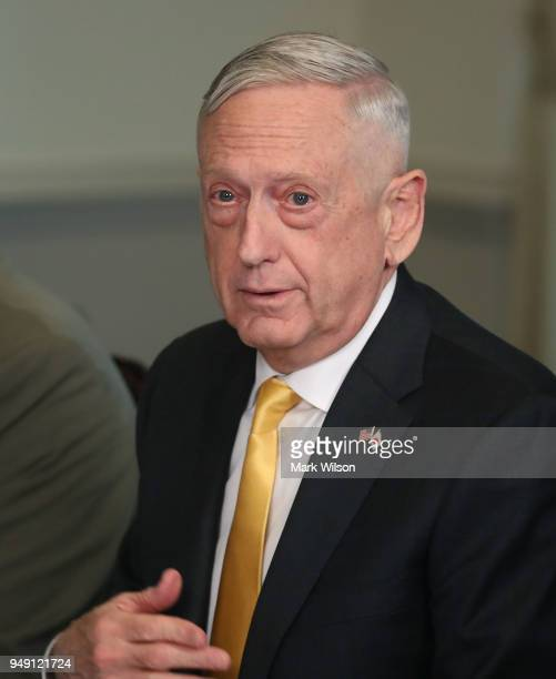 Secretary of Defense James Mattis speaks to the media during a luncheon with Japanese Defense Minister Itsunori Onodera at the Pentagon on April 20...
