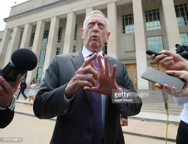 Secretary of Defense James Mattis speaks to the media prior to hosting an Enhanced Honor Cordon and meeting with Gavin Williamson Secretary of State...