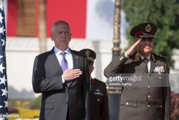 US Secretary of Defense James Mattis stands next to Egyptian Defense Minister Gen Sedki Sobhi during an official welcoming ceremony at the Egyptian...