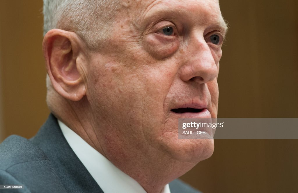 US Secretary of Defense James Mattis testifies about the Fiscal Year 2019 National Defense Authorization budget request during a House Armed Services Committee hearing on Capitol Hill in Washington, DC, April 12, 2018. /