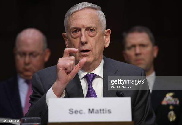 Secretary of Defense James Mattis testifies before the Senate Armed Services Committee April 26, 2018 in Washington, DC. The committee heard...