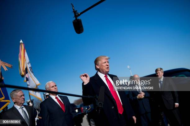 Secretary of Defense James Mattis US Vice President Mike Pence White House Chief of Staff John Kelly and Pence Chief of Staff Nick Ayers listen as US...