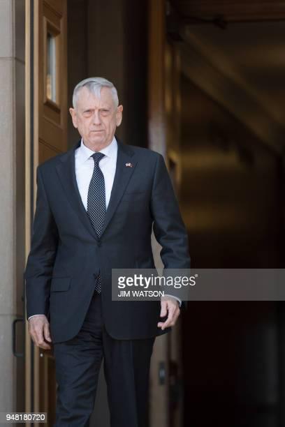 US Secretary of Defense James Mattis walks out of the Pentagon to welcome Minister of Defense of Qatar Dr Khalid Bin Mohammed AlAttiyah in Washington...