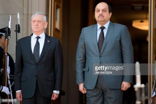 US Secretary of Defense James Mattis welcome Minister of Defense of Qatar Dr Khalid Bin Mohammed AlAttiyah at the Pentagon in Washington DC on April...