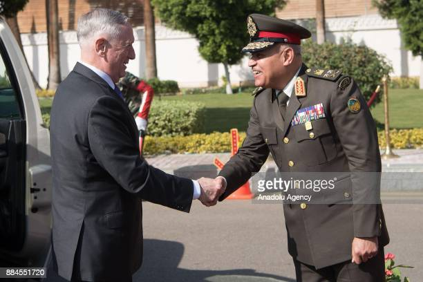 US Secretary of Defense James Mattis welcomed by Egyptian Defense Minister Gen Sedki Sobhi during an official welcoming ceremony at the Egyptian...