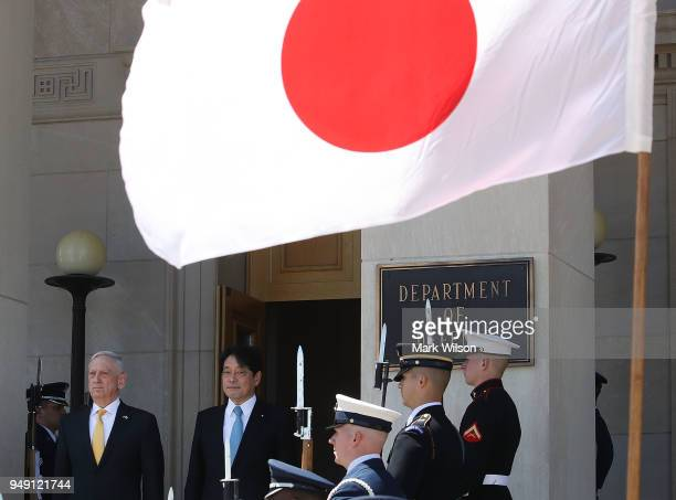 Secretary of Defense James Mattis welcomes Japanese Defense Minister Itsunori Onodera during a honor cordon at the Pentagon on April 20 2018 in...
